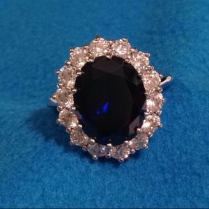 Sterling Silver Simulated Diamonds & Sapphire Ring